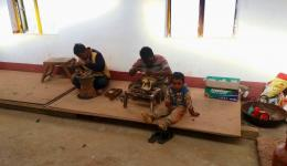 The metal workshop for young people in a Dalits village.