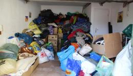 Collection point of donated material at Roland's