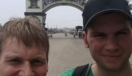 """Jürgen and Florian after crossing the border in front of the """"Gateway to Nepal"""", 05/14/2015."""