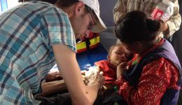A small child is examined.