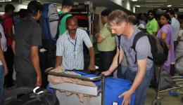 At the destination airport of Patna the baggage is loaded from the bag drop on pull cars