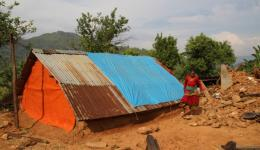 The temporary accommodation the couple has built provides some shelter for the forthcoming rainy season ...