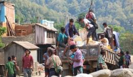 During and after distribution, the treasures are transported with small tractors to the vicinity of the mountain villages, where the people live ...