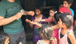 Alois' Tictac candies excite the village children.