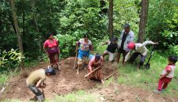 The very next day the people are with great zeal digging a hole for the first water tank in the valley.