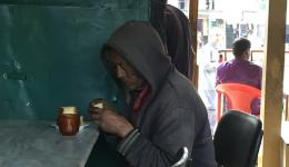 During a short lunch we meet a very poor man. He enjoys it like a child, when we invite him to tea and cake.