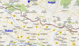 Map of the border area between northern India (federal state of Bihar) and Nepal.