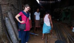 Katrin purchasing the school roof for the leprosy village Chauradano.