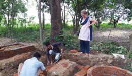 Here the first of 20 toilets for the leprosy village Bhairoganj are being built.