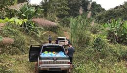 Anfahrt in die Dörfer mit zwei Pick-up's zum Material- und Personentransport.