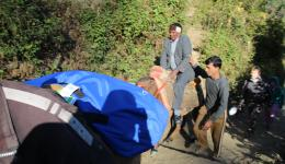 Nov. 21st, 2014 - Venu with mule on the way to distribution of blankets and caps.