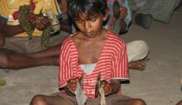 Voller Dankbarkeit singen die Kinder und Erwachsenen und machen mit kleinen Instrumenten Musik.