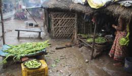 Neben dem Händler, bei dem Reis, Dal und Speiseöl besorgt werden, befindet sich ein Gemüsegeschäft.