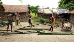 Zum Aufbau einer neuen Hütte für ca. 5000 Rupien (= rund 64 €) werden Leute aus der Kolonie beauftragt und nur das dazu benötigte Material wird gekauft und angeliefert: Bambusstangen, Stroh, Erde, eine Plastikplane usw.. Der Bau beginnt sofort.