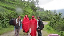 When the bus cannot continue we have to undertake a two hours walk in the rain to our today's destination, the village Lapelang in the mountains.
