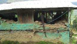 The former house of this family is no longer habitable after the earthquake.