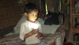 A small boy helps to install and holds the light bulb. END. Many thanks to all friends who by their donations made this help possible!!!