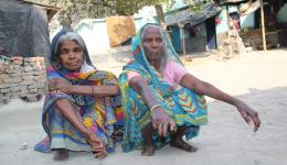 Two blind women in a leprosy village before eye surgery which they meanwhile underwent successfully.