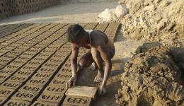 Here, bricks are produced purely by hand.