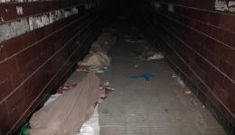An underpass, which is used as a sleeping opportunity