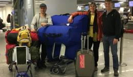 Our team 2 before departing from the Frankfurt airport.(From left) Adil, Elisabeth and Jürgen.
