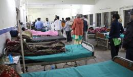 A ward in the university hospital of Sri Nagar The team visits some patients who had been sent here following the medical camp.