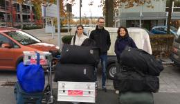 Vor dem Abflug in Nürnberg, Alexandra, Michael und Christina