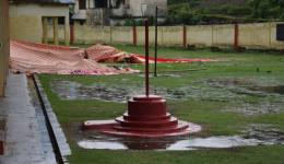 Twice heavy rainfall destroys the tent and power supply fails.