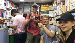 """Only with a cup of Chai the heat in the narrow shop alleys of """"Old Delhi"""" is tolerable ;-) Cheers and best regards to ALL at home!!! (from right: Alina, Jürgen, Alois)"""