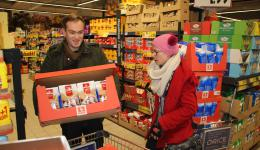 Jan. 2nd, 2015 - Oradea, Romania. We go shopping. In the Kaufland shop Christmas cookies are reduced by 60%, so we buy all the stocks ;-) Here we see Liam and Emma.