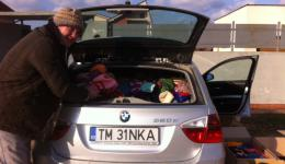 Dec. 30, 2014 - A full pallet of caps was unloaded in Oradea, Romania. The parents of Liam, Lesley and Tom, have come to pick it up from Schenker, together with Liam and Emma,and store them in their garage.