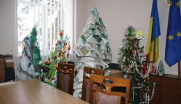 """In the storage room the Mayor shows us a few home-made Christmas trees. To prevent the residents from deforesting trees for Christmas, the town had organized a contest with the motto """"ecological Christmas"""" ..."""