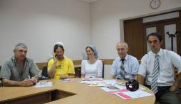 Meeting at the Town Hall in Calarasi, June 2014. From left Igor, Frank, Alexandra, and Mayor Nicolae Melnic.