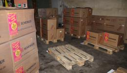 By and by the room fills with ready packed pallets.