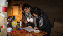 All products are checked off on the check list by Anna-Maria and Susanne.