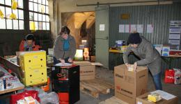 Dec. 20, 2014 - Last delivery of donated packages and large packing action. At the end of the day 105 further packages are ready - almost three tons (!) of food were packed today ...