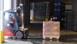Pallet after pallet disappears in the truck and is stowed.
