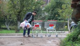 Since then, the family with a monthly income of 230, is in debt and most of it has to be spent for the repayment of the loan. We go shopping with the high pregnant mother and her daughter. They are shy and only after encouragement from our side they fill two shopping carts with most needed food, etc.