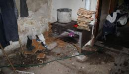 The kitchen. The floors of the apartments are partially dripping wet, because the roofs are leaking. The money earned every day is generally spent on food. There is usually not enough For more.