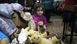 After been treated the children can chose toy animal from the big box.