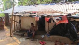 Children with their parents are living in suchlike huts.