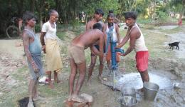Pumping water with the materials donated by FriendCircle WorldHelp.