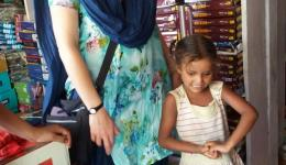 When purchasing the necessary clothes for the children of the leprosy villages, some of the kids are very shy...
