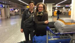 Katrin and Ludmila leaving for India. In their baggage there are many woolen caps from our knitting ladies which will be stored for distribution in November before winter arrives.