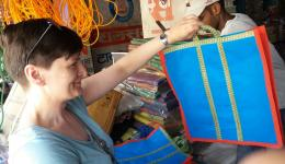 Ludmila is looking for bags for the hygiene products (for example, comb, toothbrush, soap, etc.) which are bought for the children. In the huts there are no closets. The bags protect against dust and vermin.