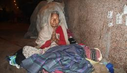 Living on the street and suffering the cold of the winter is especially hard for old people.