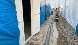 Typical gangway between tents or residential containers in refugee camps.