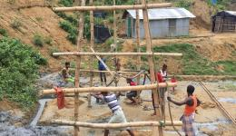 For several days the workers toiled in seven different places to provide fresh drinking water.