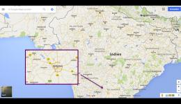 Overview map for the part of the journey to the south of India near Hyderabad.